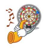 Le dartcoard de trompette étant isolé avec dans le caractère illustration libre de droits