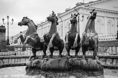 Le ` de fontaine assaisonne la place de Moscou Manege de ` photographie stock libre de droits