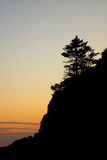 Île de la Corée du Sud - de Jeju - silhouette de soirée Photo libre de droits