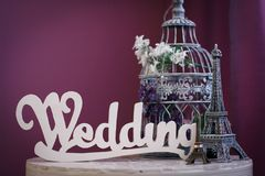 Le ` de mariage de ` de mot fait de lettres en bois blanches Images libres de droits
