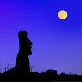 Île de Pâques à la pleine lune Photographie stock