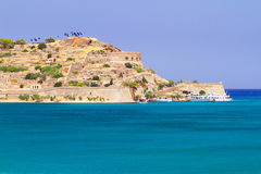 Île de Spinalonga sur la baie de Mirabello Photographie stock libre de droits
