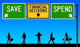 Le decisioni finanziarie risparmiano spendono Fotografia Stock Libera da Diritti