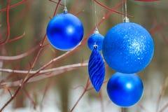 Le decorazioni all'aperto di Natale con la bagattella blu profonda delle scintille orna l'attaccatura sui rami di rosso dell'albe Fotografia Stock Libera da Diritti