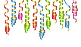 Le decorazioni del partito colorano le fiamme o i nastri d'arricciatura del partito Illustrazione di vettore royalty illustrazione gratis