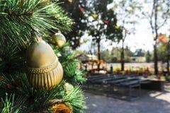 Le decorazioni dell'albero di Natale con tempo caldo Fotografia Stock