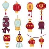 Le decorazioni tradizionali cinesi della Cina delle lanterne di carta per il vettore del nuovo anno hanno isolato le icone con i  Fotografie Stock Libere da Diritti