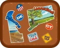Le Delaware, le Connecticut, autocollants de voyage avec les attractions scéniques Illustration de Vecteur