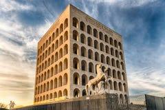 Le della de Palazzo CiviltàItaliana, aka Colosseum carré, Rome, Photo libre de droits