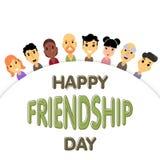 Le demi-cercle des amis de différents genres et nationalités comme symbole de jour international d'amitié Image stock