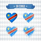 Le Democratic Republic Of The Congo Collection de quatre coeurs de vecteur avec le drapeau Silhouette de coeur illustration libre de droits