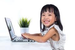 Le den asiatiska kinesiska damen för litet kontor som använder bärbara datorn Arkivfoto