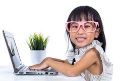 Le den asiatiska kinesiska damen för litet kontor som använder bärbara datorn Arkivbild