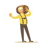 Le den blonda mannen i en bayersk traditionell dräkt som rymmer trätrumman på hans skuldra och öl, råna i hans hand stock illustrationer