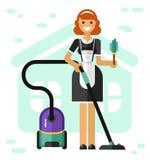 Le den franska hembiträdet stock illustrationer