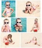 Le den gulliga lilla flickan på strandsemester Royaltyfri Foto