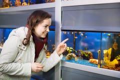 Le den hållande ögonen på fisken för kvinnlig kund i akvariumbehållare Royaltyfri Fotografi