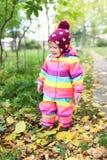 Le den lyckliga 1 år lilla flickan som utomhus går i höst Arkivfoto