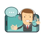 Le den manliga operatören med hörlurar med mikrofon som talar från skärmen av en smart telefon Grungebakgrund för dina publikatio stock illustrationer