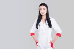 Le den medicinska kvinnadoktorn Bakgrund royaltyfria bilder