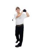 Le den svängande golfklubben för asiatisk kinesisk man Royaltyfria Foton