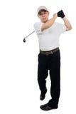 Le den svängande golfklubben för asiatisk kinesisk man Royaltyfri Bild