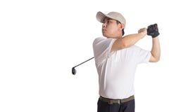 Le den svängande golfklubben för asiatisk kinesisk man Arkivfoto
