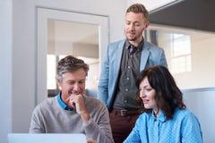 Le den unga affärsmannen som talar med kontorscoworkers som använder en bärbar dator royaltyfri bild