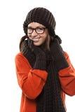 Le den unga kvinnan i moderna exponeringsglas arkivfoton