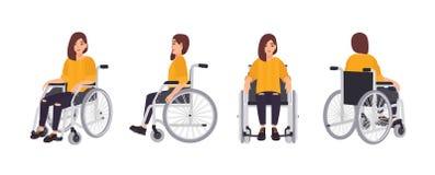 Le den unga kvinnan i rullstolen som isoleras på vit bakgrund Kvinnligt tecken som genomgår rehabilitering efter trauma royaltyfri illustrationer