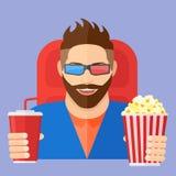 Le den unga mannen med popcorn och sodavatten i bion Plan stilvektorillustration Fotografering för Bildbyråer