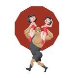 Le den väldiga strongmanen rym två flickor i skuldror Arkivfoto