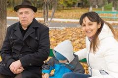 Le den vänliga kvinnan med hennes son och fader Arkivfoto