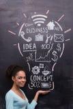 Le denamerikan kvinnan med den målade lightbulben Arkivbild