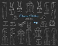 Le denim vêtx la collection Illustration de croquis de vecteur Image libre de droits