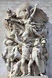 Le Depart, sculpture on the Arc De Triomphe, Paris, France. Paris, France, September 16, 2011 :  Le Depart, sculpture on the Arc De Triomphe which celebrates the Stock Photo