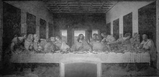 Le dernier dîner par Leonardo da Vinci dans le réfectoire du couvent du delle Grazie, Milan de Santa Maria noir et blanc photos stock