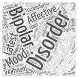 Le dernier médicament pour le concept bipolaire de nuage de mot de troubles affectifs Photo libre de droits