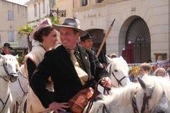 DES Gardians, Arles, Provence de fête Photo stock