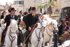 DES Gardians, Arles, Provence de fête Images libres de droits