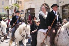 DES Gardians, Arles, Provence de fête Image libre de droits
