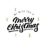 Le deseamos una mano de la Feliz Navidad escrita las letras Fotografía de archivo