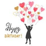 Le design de carte de joyeux anniversaire avec la petite fille et l'aquarelle monte en ballon Photo stock