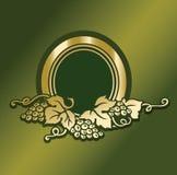 Le design de carte de menu de carte des vins a décoré l'élément avec le GR d'or mûr Images stock