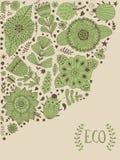 Le design de carte floral, les fleurs et la feuille gribouillent des éléments Illustration faite de fleurs et herbes Photographie stock libre de droits