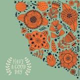 Le design de carte floral, les fleurs et la feuille gribouillent des éléments Illustration faite de fleurs et herbes illustration libre de droits