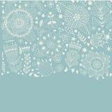 Le design de carte floral, les fleurs et la feuille gribouillent des éléments Illustration faite de fleurs et herbes Illustration Stock