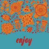 Le design de carte floral, les fleurs et la feuille gribouillent des éléments Illustration faite de fleurs et herbes Invitation d Photographie stock libre de droits