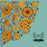 Le design de carte floral, les fleurs et la feuille gribouillent des éléments Illustration faite de fleurs et herbes Invitation d Image libre de droits