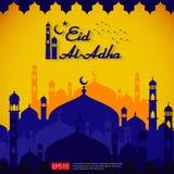 Le design de carte islamique de salutation d'Eid al Adha Mubarak avec l'élément de mosquée de dôme en papier a coupé le style ill illustration stock